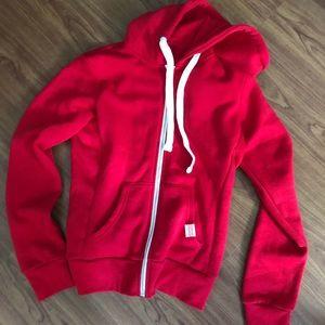 Red zip up hoodie